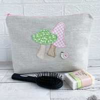 Pastel Green and Pink Mushrooms and Snail Toiletry Bag