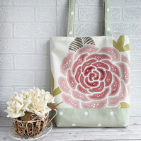 Polka Dot Tote Bag with Large Pink Swirled Flower