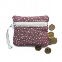 Ditsy purple flower coin purse, change purse, zipped pouch