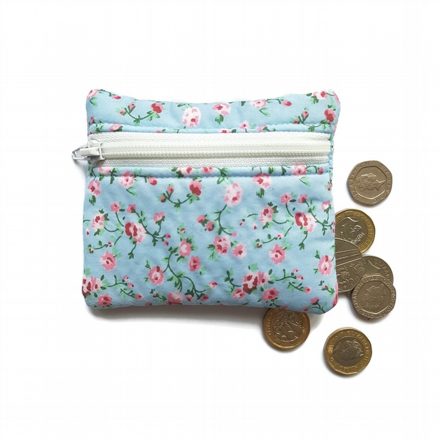 Blue vintage rose coin purse