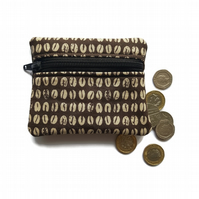 Coffee bean coin purse, change purse, zipped card pouch
