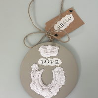 Hello! New Arrival Hanging Gift Plaque!