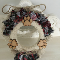 Tartan Detail, Doggy Ruffle Hanging  Wreath - Just Lovely Things!
