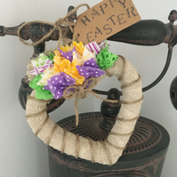 'Happy Easter' Rustic Ruffle  Hanging Heart!