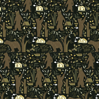 Woodland Bears Brown Fabric (by the metre)