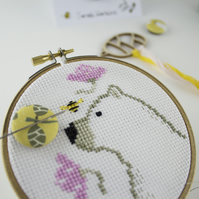 Bear Bee and Flowers Cross Stitch Pattern (PDF download only)