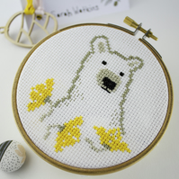 Bear Yellow Flowers Cross Stitch Pattern (PDF download only)
