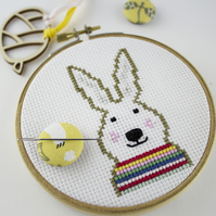 Bunny with Rainbow Jumper Cross Stitch Pattern (PDF download only)