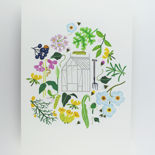 Yorkshire Flowers & Greenhouse Giclee print A4