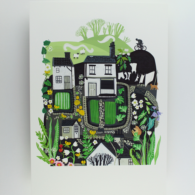 Yorkshire Houses Giclee print A4