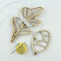 Leaf & pine cone thread holder set