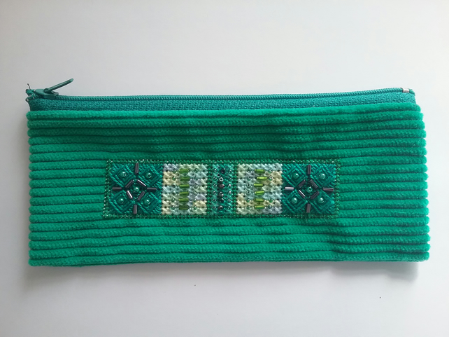 embroidered and beaded pencil-case