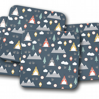 Set of 4 Blue Camping Theme Design Coasters