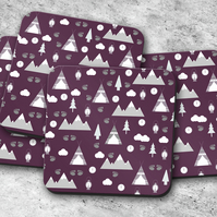 Set of 4 Purple Camping Theme Design Coasters