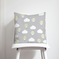 Grey and Lemon Hot Air Balloons Cushion