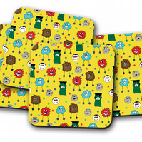 Set of 4 Yellow with Multicoloured Monsters Design Coasters