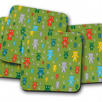 Set of 4 Green with Multicoloured Cute Monsters Design Coasters