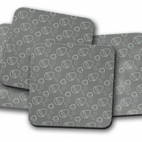 Set of 4 Grey with Mint Green Geometric Design Coasters