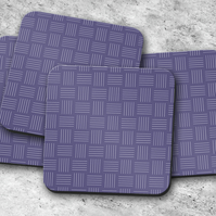 Set of 4 Purple and White Line Geometric Design Coasters