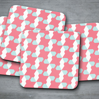 Set of 4 Pink with Blue and White Geometric Design Coasters