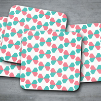 Set of 4 White with Pink and Green Geometric Design Coasters