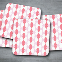 Set of 4 Pink with White Geometric Design Coasters