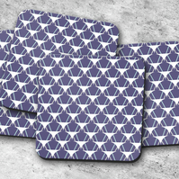 Set of 4 Purple with White and Pale Blue Geometric Design Coasters