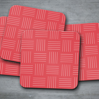 Set of 4 Red with White Line Geometric Design Coasters