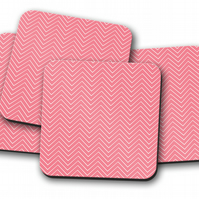 Set of 4 Pink with White Chevron Geometric Design Coasters