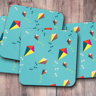 Set of 4 Turquoise with Multicoloured Kites Design Coasters