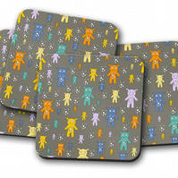 Set of 4 Grey with Cute Monsters Design Coasters