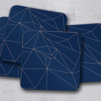 Set of 4 Navy Blue with Rose Gold Geometric Design Coasters
