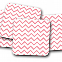 Set of 4 White with Pink Chevron Geometric Design Coasters