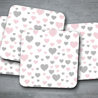 Set of 4 White with Pink and Grey Hearts Design Coasters