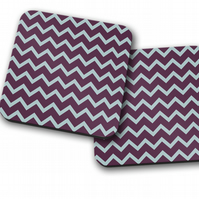 Set of 4 Purple with Duck Egg Blue Chevron Design Coasters