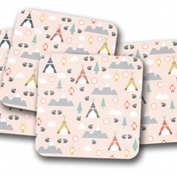 Set of 4 Pink Camping Theme Design Coasters