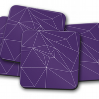 Set of 4 Purple with White Line Geometric Design Coasters