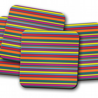 Set of 4 Rainbow Striped Design Coasters