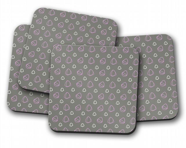 Set of 4 Grey with Pink Geometrical Design Coasters