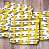 Set of 4 White with Grey and Yellow Geometric Design Coasters