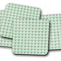 Set of 4 Mint Green and Grey Geometrical Design Coasters