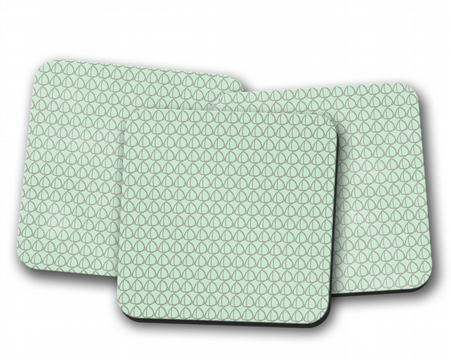 Set of 4 Mint Green with Grey Geometrical Design Coasters