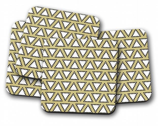 Set of 4 Gold with White and Black Triangle Design Coasters