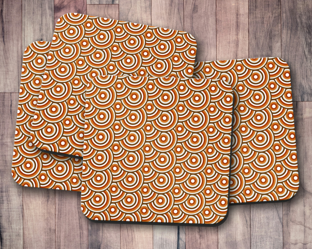 Set of 4 Brown 70's Retro Design Coasters