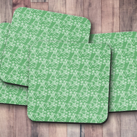 Set of 4 Green and White Triangle Geometrical Design Coasters
