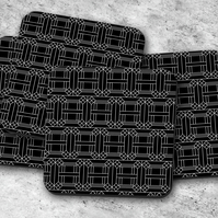 Set of 4 Black with White Geometrical Design Coasters