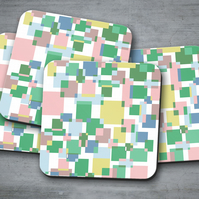 Set of 4 White with Crazy Squares Design Coasters