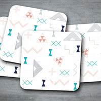 Set of 4 White with Turquoise, Pink, Grey and Black Kilim Design Coasters