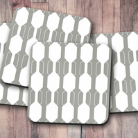 Set of 4 Grey and White Geometric Design Coasters