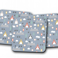 Set of 4 Light Blue Camping Theme Design Coasters
